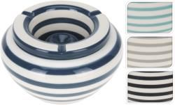 Ashtray dolomite, stripe design, 4asst. (Blue,Black,Turqoise,Grey) 14x18,5cm