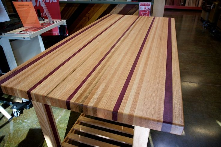 purple heart wood table.  pretty!