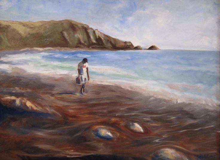 A walk on the beach – oil on canvas