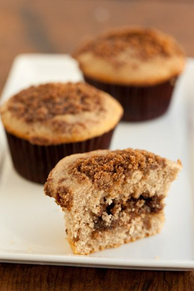 Sour Cream Cinnamon Streusel Muffins with Pecan Filling.