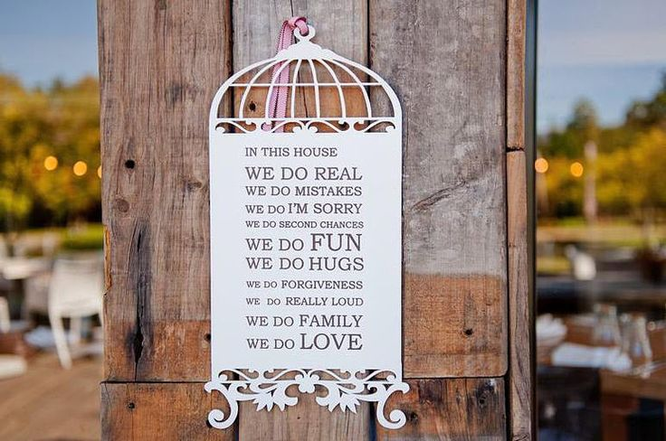 "Wooden Birdcage With Quote - ""In this house...."" - Afrikaans / English"