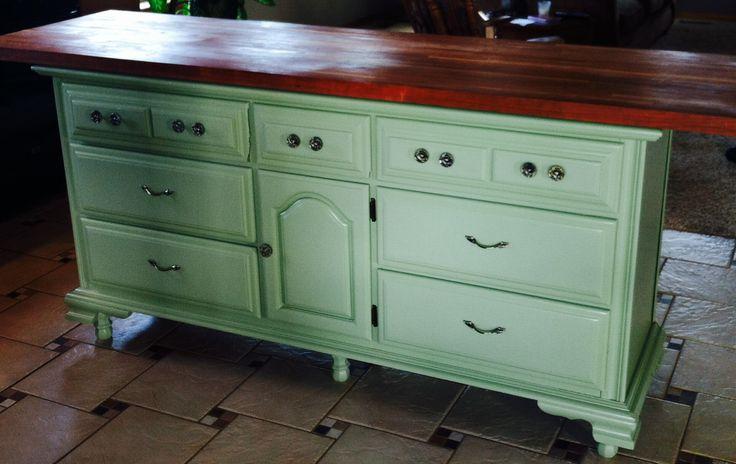 Diy kitchen island transformed from old dresser kitchen for Kitchen ideas diy pinterest