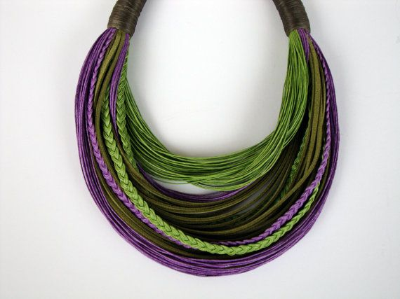 Light Green and Lilac Fiber Statement Necklace by superlittlecute