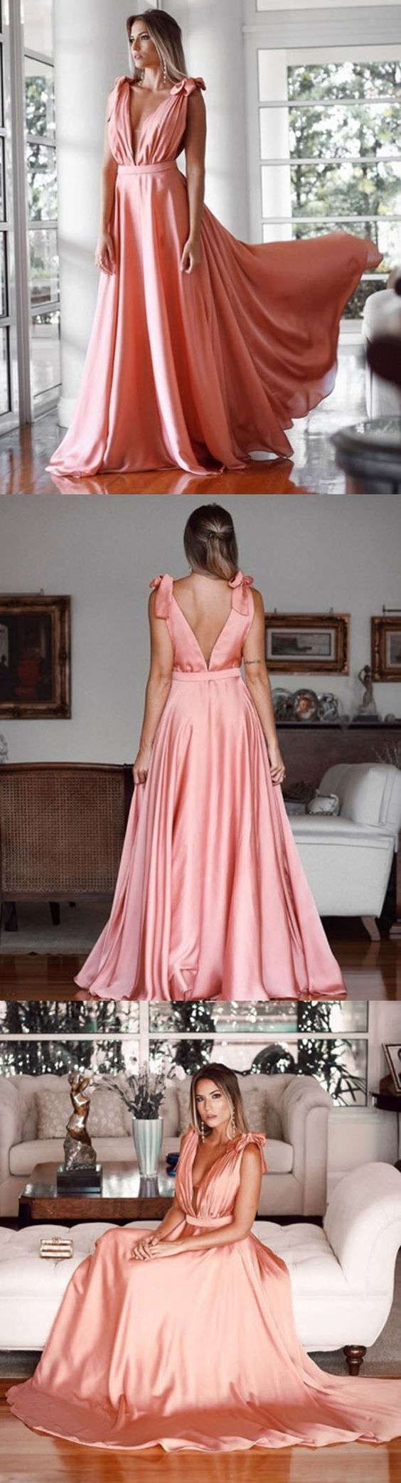 Gorgeous Deep V Neck Blush Pink Long Prom Dress Straps Formal Evening Gown Elegant Prom Gown #dress #gown #prom #prom2018 #homecoming #formaldress #formalgown #weddingparty #promdress #promgown #evening #eveningdress #eveninggown #fashion #blushpink #pink