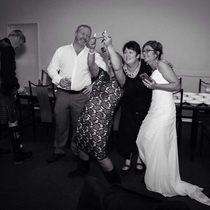 Relaxing with Viv, Martin and the wedding party before heading into the Reception at Melton Estate.