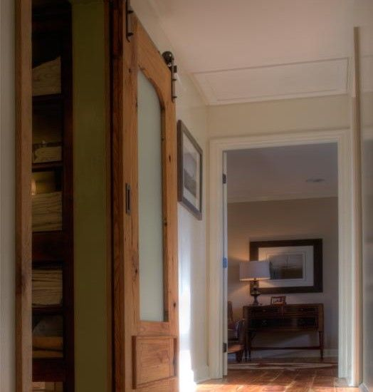 sliding barn door to linen closet nice though a cheaper. Black Bedroom Furniture Sets. Home Design Ideas