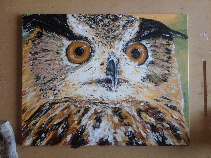 Hibou, 16x20, acrylique, 200,00$