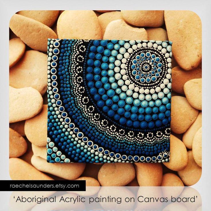 Dot Art aborigène petit tableau Original eau par RaechelSaunders