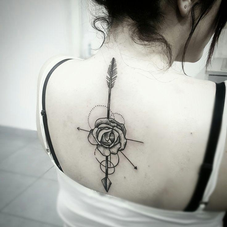@brolinkosta Geometric arrow rose tattoo