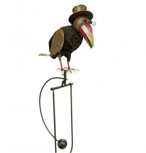 Rocking Balancing Wire Bird W/ Top Hat Metal Garden Wind Rocker Spinner  Ornament