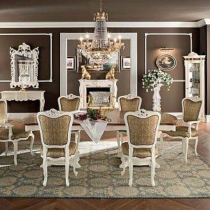 Dining-room-luxury-classic-Italian-furniture-Bella-Vita-collection-Modenese-Gastone.jpg - Sala da pranzo classica con mobili in noce e decorazioni in radica