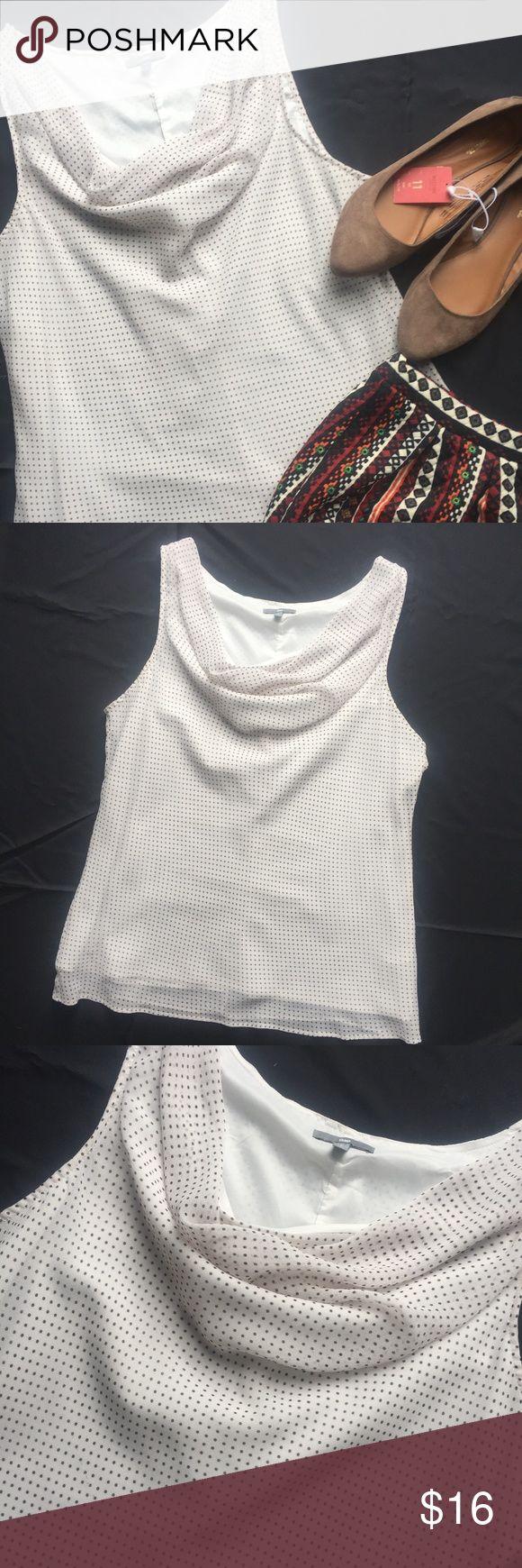 "Cream Sleeveless GAP Top w/Black Polka Dots Beautiful fully lined, draped-neck, sleeveless top by GAP.  Cream with black polka dots, EUC.  Pit-to-pit = 21"" and shoulder-to-hem = 28"" GAP Tops"