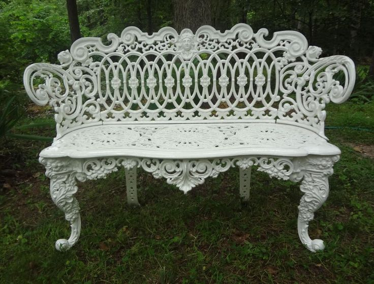 American Victorian Cast Iron Garden Bench From Fallingcreekgarden On Ruby  Lane