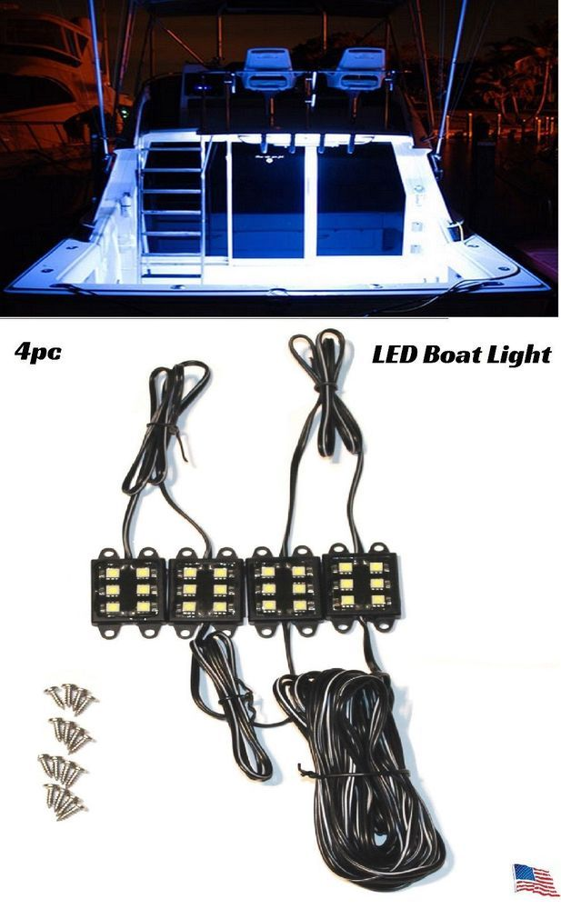 White LED Boat Lights Kit Waterproof Pod Bright LED Strips Marine Interior  Lite