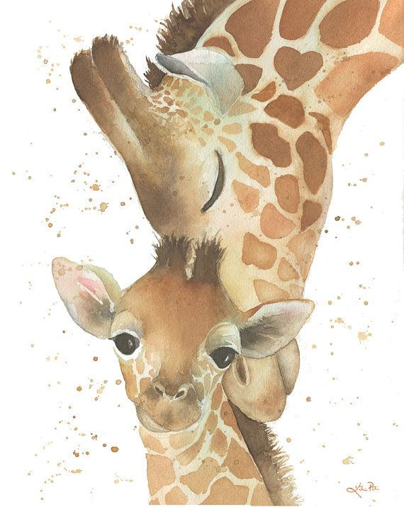 Giraffe mom and baby watercolor, mom nuzzling baby, by Katrina Pete. Check out my prints for sale in my etsy shop!  #giraffe #watercolor #giraffenursery