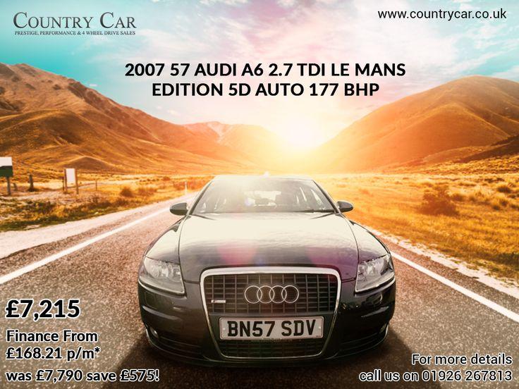 £7,215   2007 57 AUDI A6 2.7 TDI LE MANS EDITION 5D AUTO 177 BHP was £7,790 save £575! Finance From £168.21 p/m* #audi #audicar #usedcar #bestcar #5D #A6 #countrycar #amazingcar #bestcar #audi2017 #audiusedcar #audi2007 #carsales #carforsales #warwickshire #ukcar #car #cars #dealership #deals #bestcardeals #usedcardeals  #cardealer #carsales