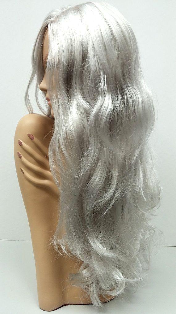 Long 23 Inch Wavy Silver Grey Wig Witch Wig Costume