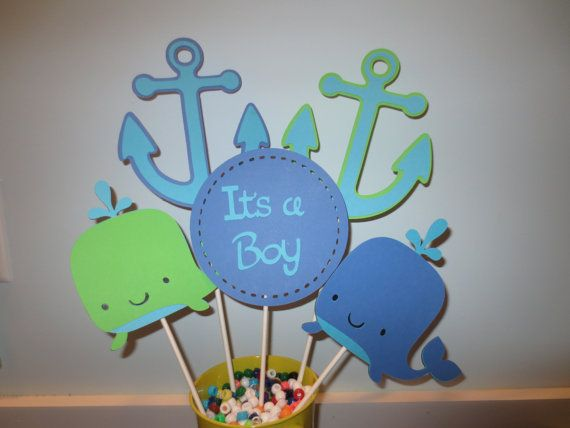 Lovely 5 Piece Whale And Anchor Baby Shower Centerpiece
