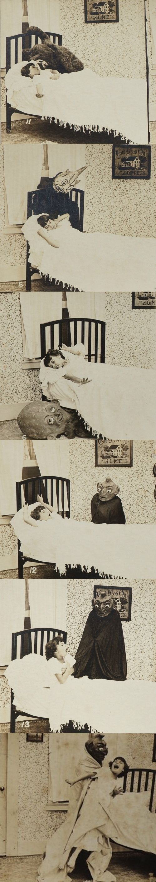 "BOOGIE MAN child & goblins bedtime DROP CARD series of stereoviews, 1923. ""The Goblins will get you if you don't watch out""."