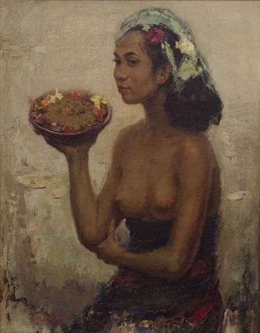 Lee Man Fong - Balinese Girl with Offerings (sold for $ 218,110)