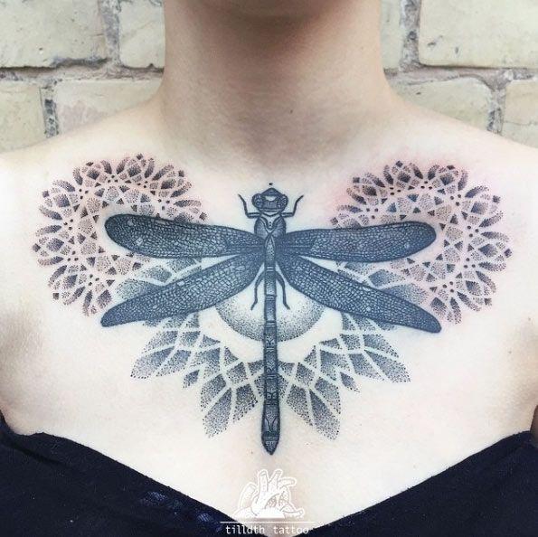 unique Animal Tattoo Designs - Dragonfly chest piece by Sarah Herzdame...