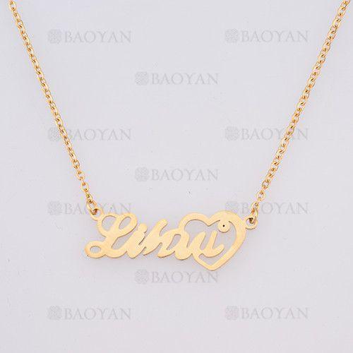 collar con nombre en acero dorado inoxidable - SSNEG384245