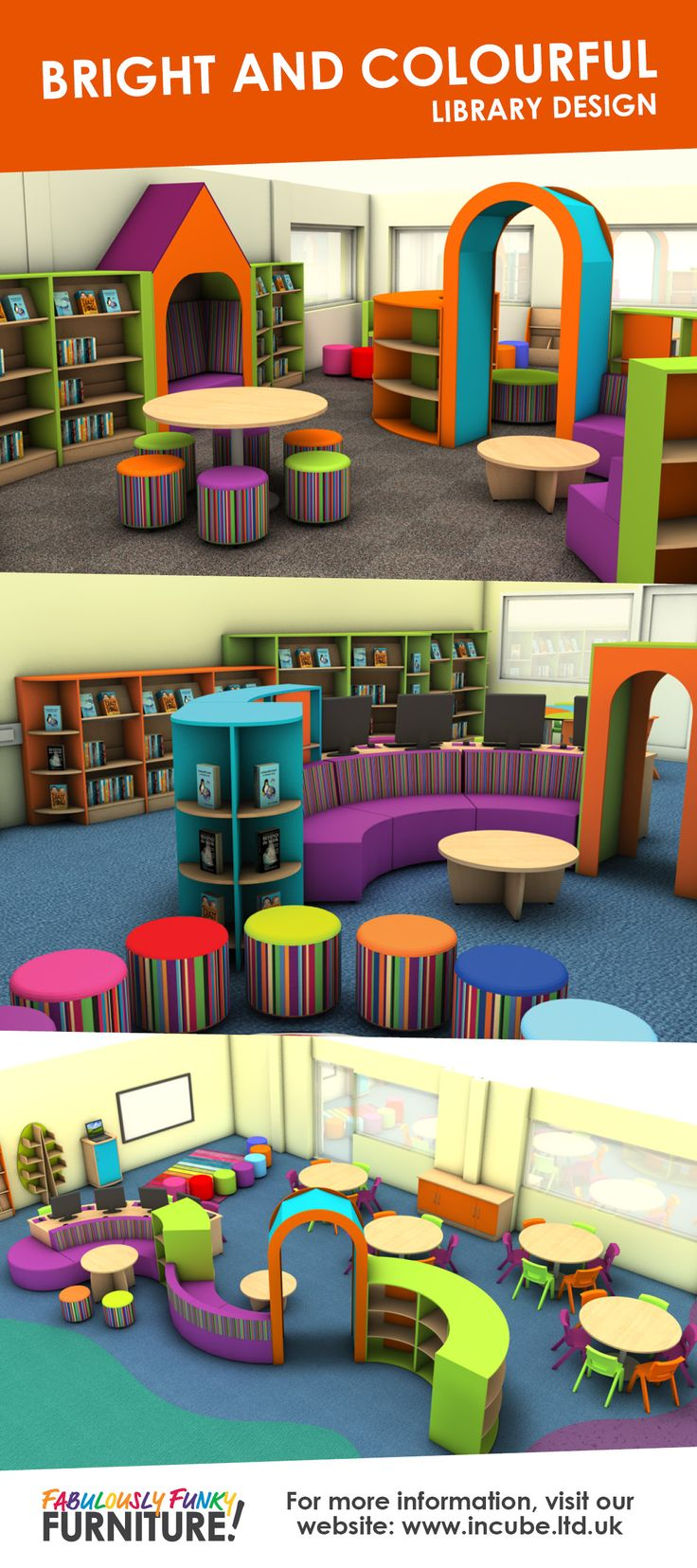 Incube Ltd can help you find your perfect Bright and Colourful library design for your school or public library.