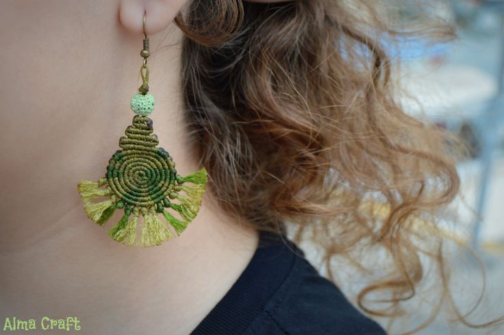 Olive-Green Shades Macrame Earrings