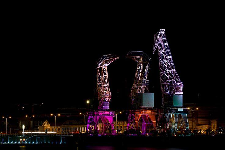 Crane, harbor, color, night, light, Szczecin, Poland by Anovva on Etsy