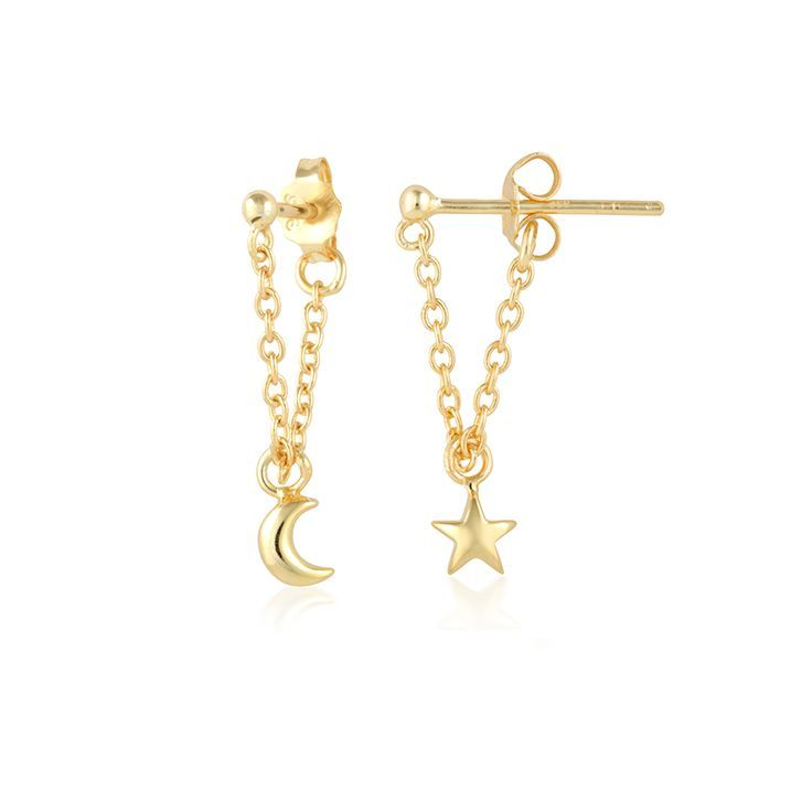 Star Moon Earrings - SHOP NOW by clicking on website | A dainty star and moon adorn your lobes, hanging prettily on a fine gold chain. Modern and beautiful, perfect for those looking for some sparkle | Au Revoir Les Filles
