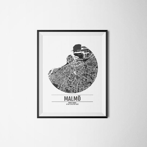 Malmö city map Malmo Sweden Art print A3 by Itchyprints on Etsy