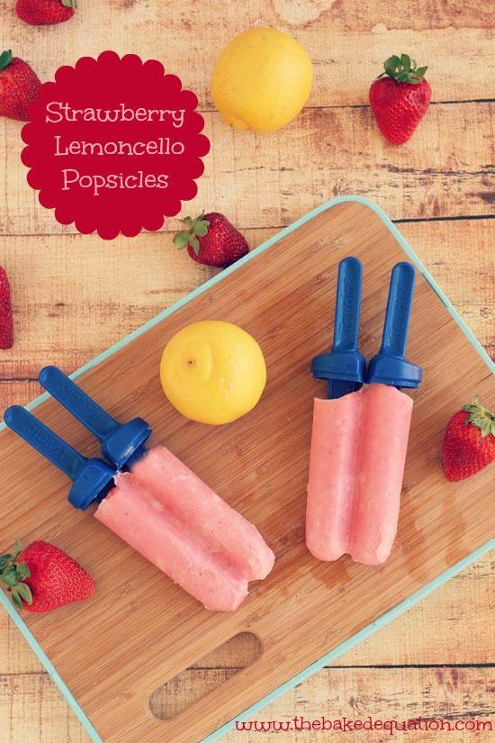 Strawberry Lemoncello Popsicles Aardbeien lemoncello ijs op een stokje