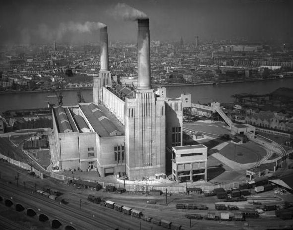 Battersea Power Station c. 1938. It only had two chimneys back then.