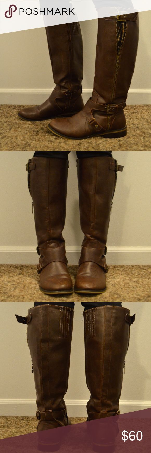 G by Guess tall brown boots Tall brown boots. Buckle, plaid fabric, and zipper on outside. G by Guess Shoes Combat & Moto Boots