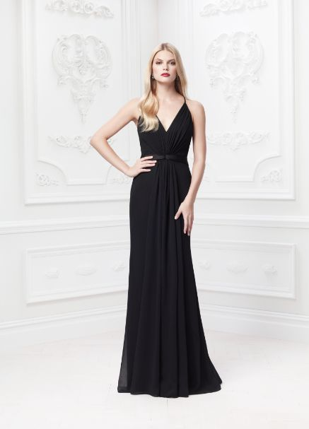 Truly Zac Posen Long Soft Crinkle Chiffon Dress with Lace Back Style ZP285025 #davidsbridal