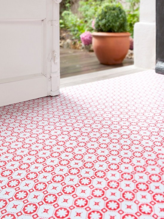 Floor pattern, colour great for a girl's ensuite, or a laundry room.