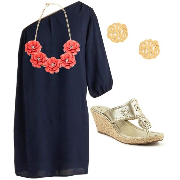 Off the shoulder light weight navy dress coral flower for Jewelry to wear with coral dress