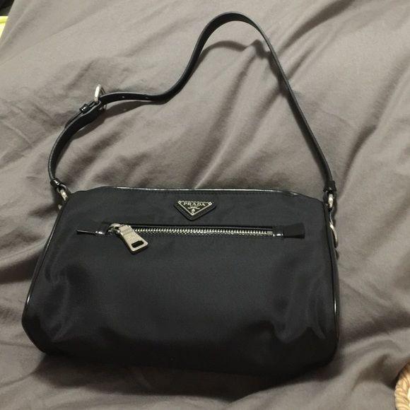 "Authentic Prada nylon bag with lether strap Tessuto, Nero , W :9"" , H:6"" Prada Bags Shoulder Bags"