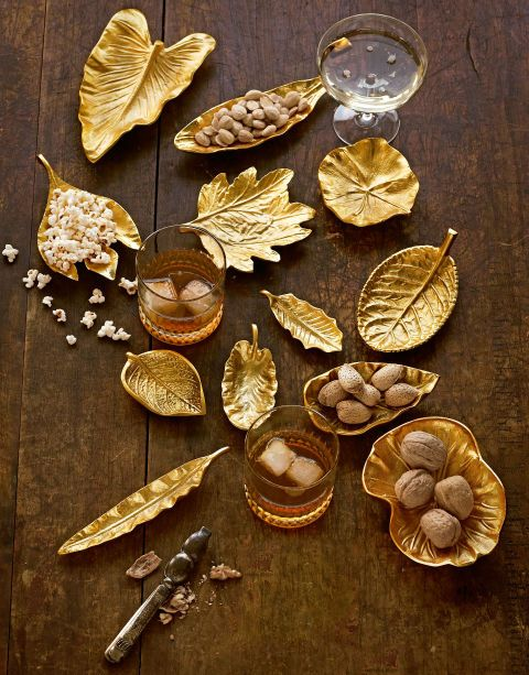 Available in 17 different kinds of foliage, from lotus to sassafras, these brass dishes are ready to be pressed into service proffering hors d'oeuvres. (Leaf dishes, $20 to $36 each; tozaihome.com for stores)