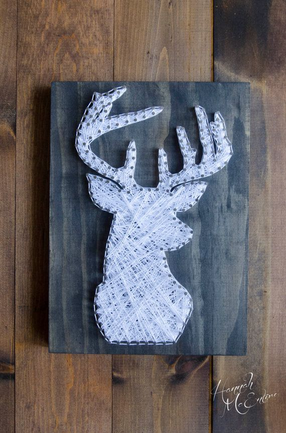 Deer Head - String Art - Hunting Decor - Hunting Gifts- Gifts For Him -  Country Home Decor - Rustic Home Decor - Cabin Decor - Wood Decor