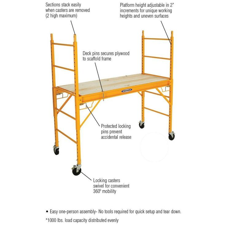 Werner 6 ft. Steel Rolling Scaffold 1000 lb. Load Capacity-SRS-72 - The Home Depot
