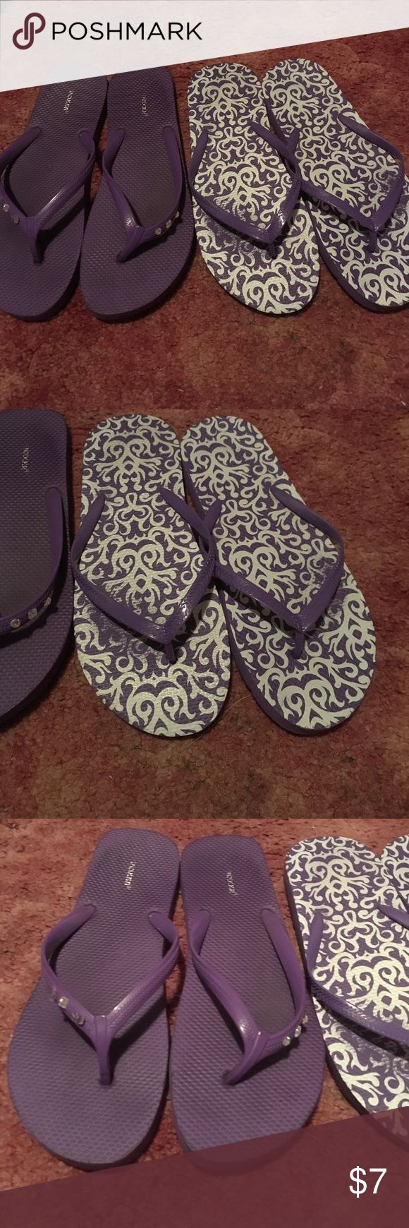 Mixed lot of purple flip-flops Size 9-10! They don't have tags but they are not used at all! Shoes Sandals
