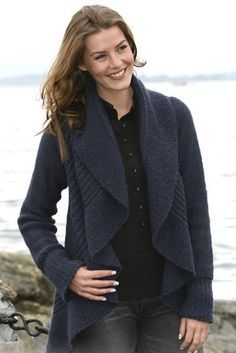 Free knitting pattern for Blue Moon Cardigan that is a knit circle with sleeves and more draped front cardigan knitting patterns