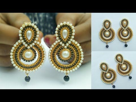 How To Make Pearls Designer Earrings | Paper Earrings | Jewellery Making|DIY+earring(earring)diaries - YouTube