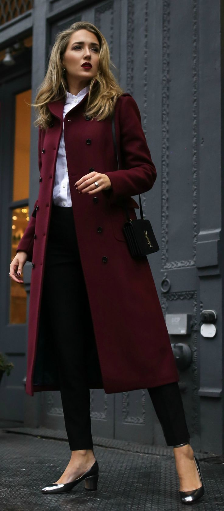 THE DESIGNER SALE YOU CAN NOT MISS! // Long burgundy double-breasted coat, metallic silver ankle strap pump, tailored high-waisted black pants, white ruffle blouse, black shoulder bag, deep red lip { Saint Laurent, Valentino, Theory, winter style, what to wear to work, holiday outfits, casual business attire, classic style}