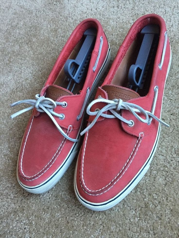 Sperry Top Sider Men's Red Leather Casual Boat Shoes EUC Size 11 5 | eBay