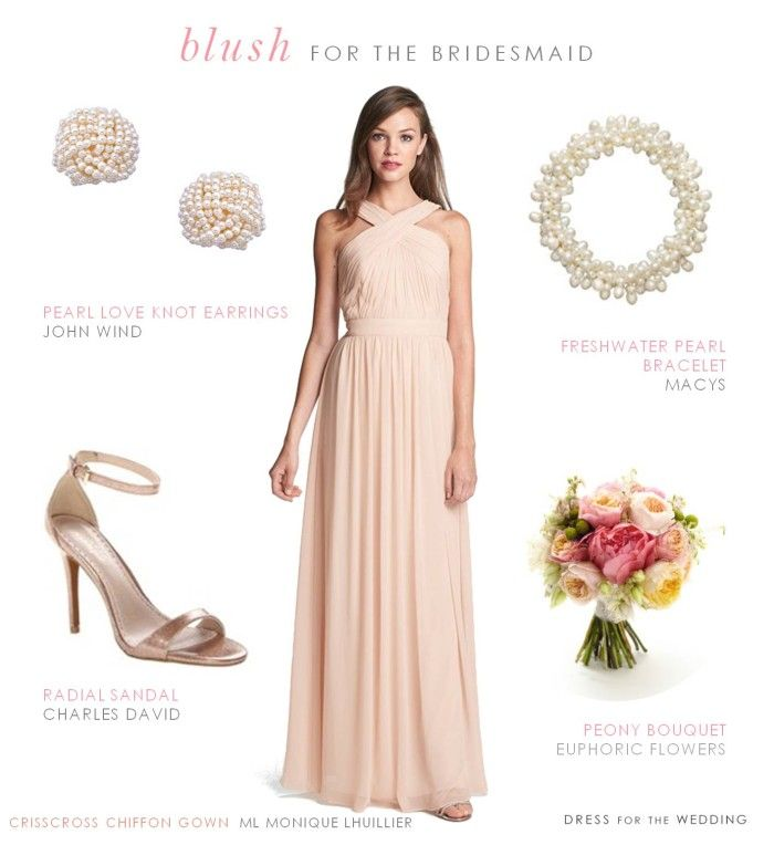 Blush floor length bridesmaid gown by Monique Lhuillier (like those worn on The Bachelor wedding!)