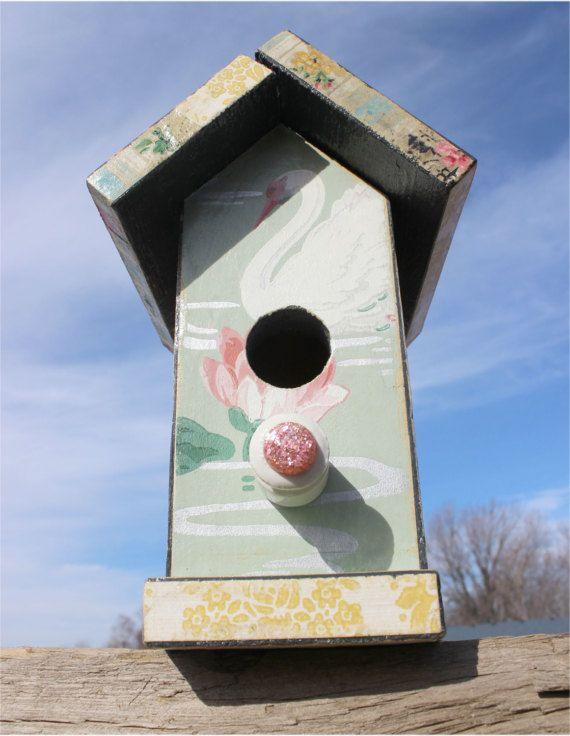 Decoupage Vintage Wallpaper Bird House on by JunkWhisperers