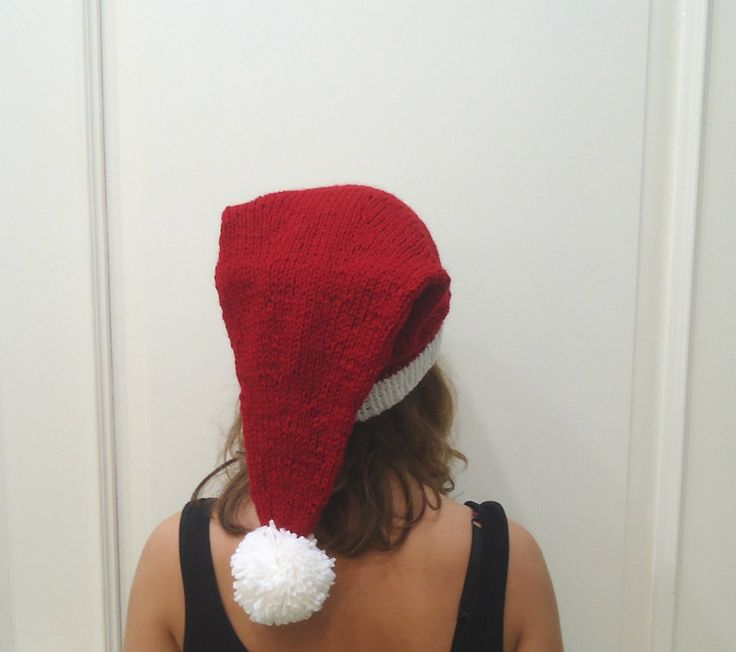 Knitted SANTA HAT- CHRISTMAS unisex teenage Hat red,white pompom hand knitted in red and white by MARYsworks on Etsy