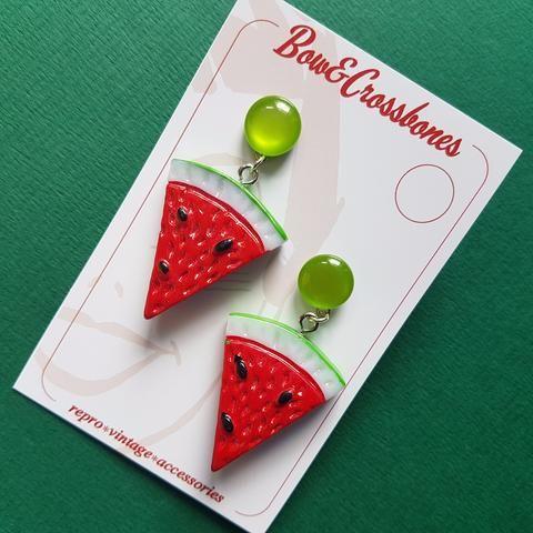 Watermelon fruit drop earrings